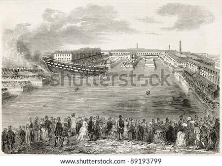 Launching the Ville-de-Nantes, old illustration. Created by Gaildrau,  published on L'Illustration, Journal Universel, Paris, 1858 - stock photo