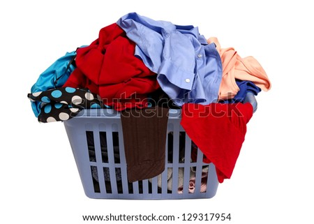 Laundry Basket Of Clothes/ Horizontal Shot Isolated On White Background - stock photo