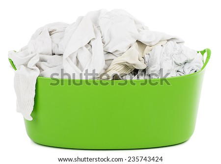 Laundry Basket with Whites - stock photo