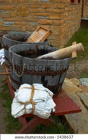 Laundry buckets & stool at Fort Snelling in 1820s. More with keyword Series08. - stock photo