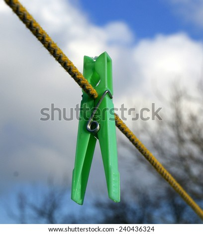 Laundry clip in winter - stock photo
