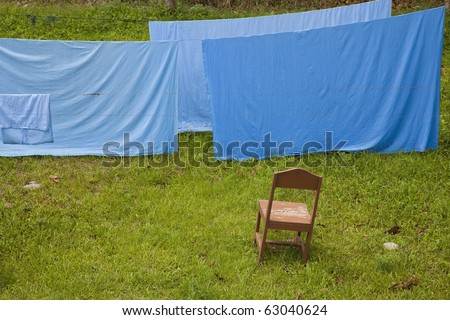 Laundry Day, clean sheets drying above green grass! - stock photo