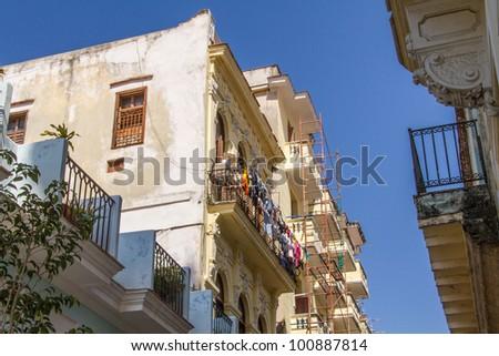 Laundry drying in Old Havana, Cuba - stock photo