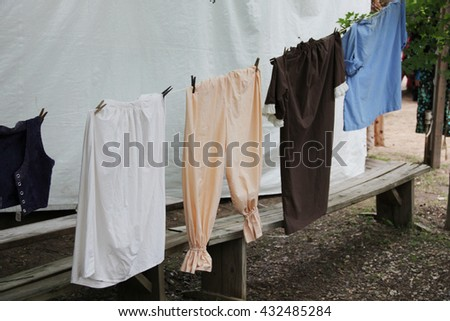 Laundry drying outside, like in the old days - stock photo