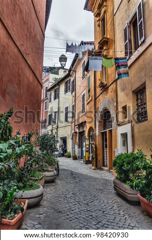 Laundry in Trastevere district of Rome, Italy - stock photo