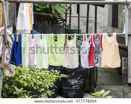Laundry Line with Clothes - stock photo