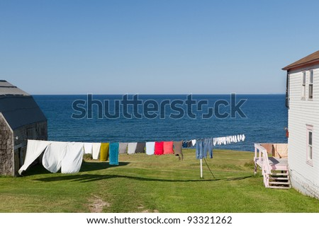 Laundry on a line - stock photo
