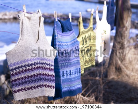 Laundry on clothes line - stock photo