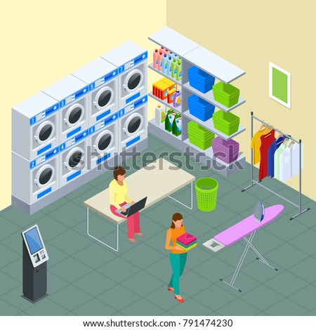 Laundry Service And Dry Cleaning Concept Row Of Industrial Machines In Laundromat Iron