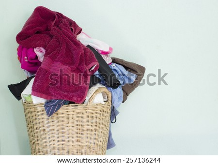 laundry,washing fabric in the basket - stock photo
