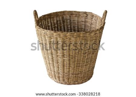 laundry wicker basket - stock photo