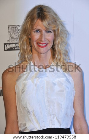 Laura Dern at the 26th Annual American Cinematheque Awards Ceremony honoring actor Ben Stiller at the Beverly Hilton Hotel. November 15, 2012  Beverly Hills, CA Picture: Paul Smith - stock photo
