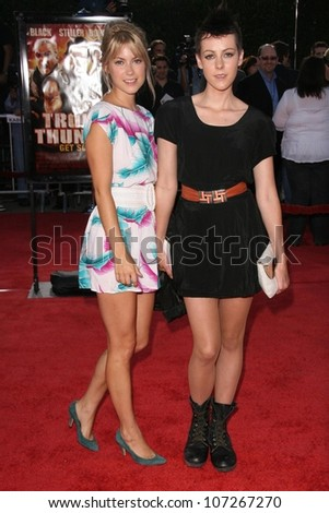 Laura Ramsey and Jena Malone  at the Los Angeles Premiere of 'Tropic Thunder'. Mann's Village Theater, Westwood, CA. 08-11-08 - stock photo