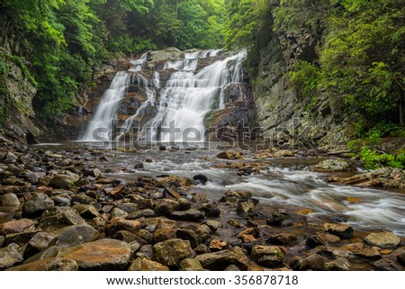 Laurel fork falls along the Appalachian Trail in Tennessee - stock photo