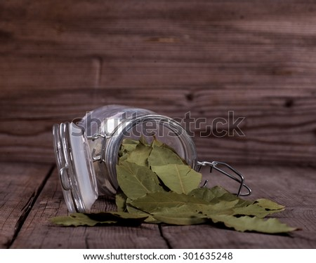 laurel leafs in a preserving jar over white background - stock photo