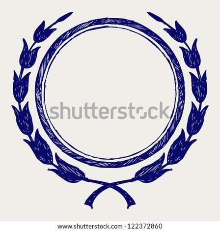 Laurel wreath. Doodle style. Raster version - stock photo