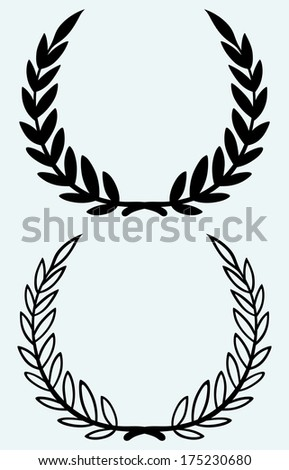 Laurel wreaths isolated on blue background. Raster version - stock photo