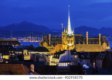 Lausanne panorama with Saint-Francois Church. Lausanne, Vaud, Switzerland. - stock photo