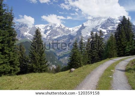 Lauterbrunnen Valley in Switzerland - stock photo