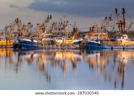 Lauwersoog hosts one of the biggest fishing fleets in the Netherlands. The fishery concentrates mainly on the catch of mussels, oysters, shrimp and flatfish in the Waddensea - stock photo