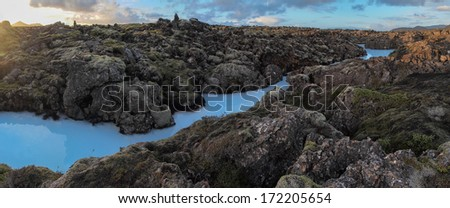 Lava field and geothermal waters of Iceland - panorama - stock photo