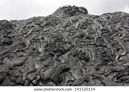 Lava field of basaltic pahoehoe in Hawaii - stock photo