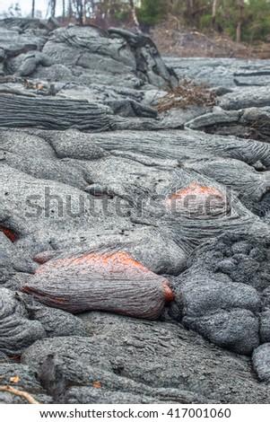 Lava field, Vocalnoes National Park Big Island, Hawaii - stock photo