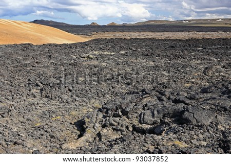 Lava fields at Krafla near Myvatn, Iceland - stock photo