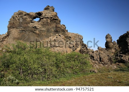 Lava formations at Dimmuborgir near Myvatn in northern Iceland - stock photo