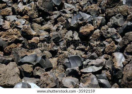 Lava from Santorini island Greece - stock photo
