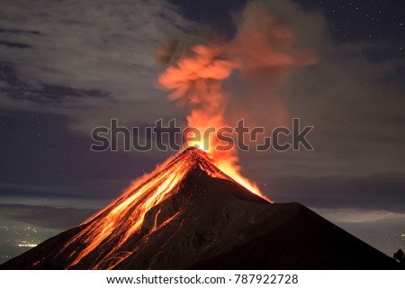 Lava going down the Volcano Fuego in Antigua, Guatemala, right after an eruption.