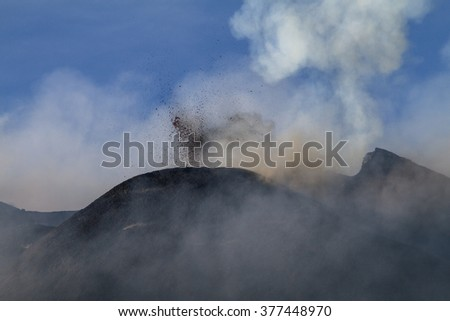 Lava splash with blue sky