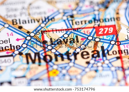 Laval Canada On Map Stock Photo 753174796 Shutterstock