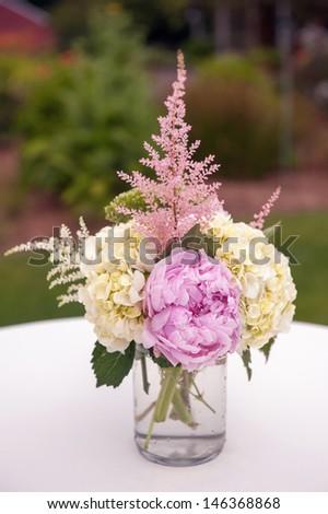 Lavender and Cream Centerpiece - stock photo