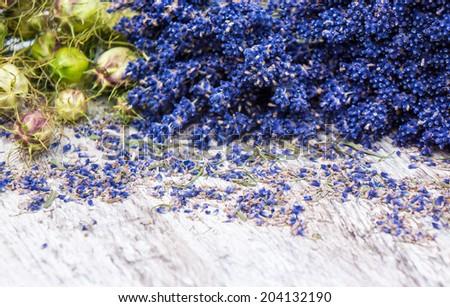 Lavender and Nigella  - stock photo