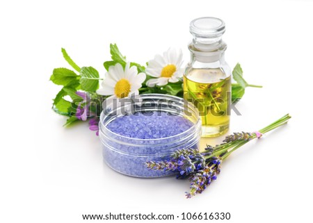 Lavender bath salt and other herbs for aromatherapy - stock photo
