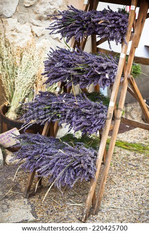 Lavender bunches selling in a outdoor french market. Vertical shot - stock photo