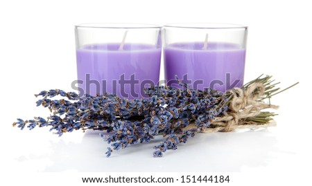 Lavender candles with fresh lavender, isolated on white - stock photo