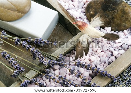 Lavender cosmetics: soap and bath salt. Still life. - stock photo
