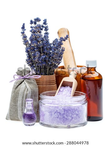 Lavender essential oil and bath salt  - stock photo