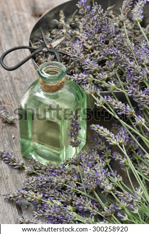 Lavender flowers bouquet with herbal oil and scissors on wooden background. Alternative home medicine - stock photo