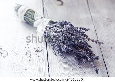Lavender flowers on the wooden background, rural style  - stock photo