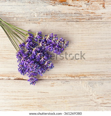 Lavender Flowers on wood - stock photo