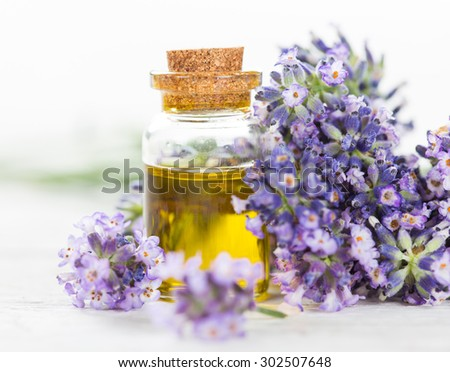 Lavender flowers with essential oil - stock photo