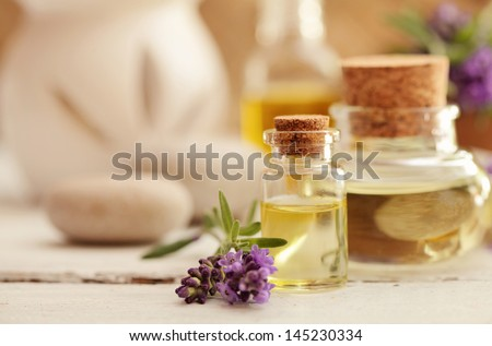 lavender fragrance oil - stock photo