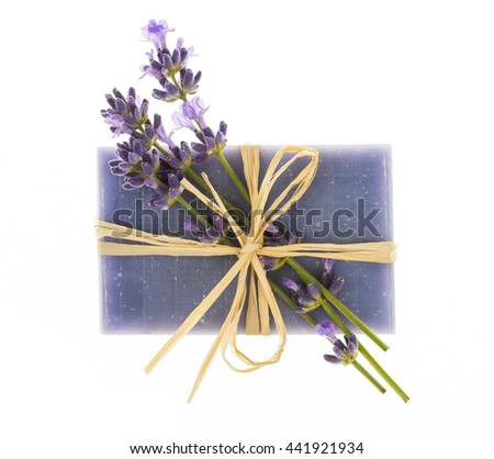 Lavender handmade artisan soap with fresh flowers isolated on white background