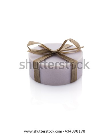 Lavender handmade soap isolated on white background.