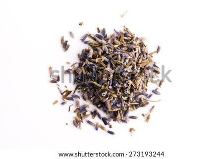 Lavender Herb Bud Flower tea Heap pile surface top view isolated on white background - stock photo