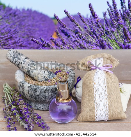 Lavender herbal water in a glass bottle with fresh and dry flowers on  wooden table, lavender field in background - stock photo