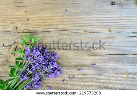 Lavender herbs on wooden board - stock photo